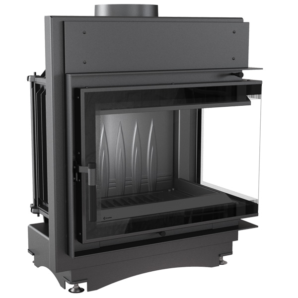 Kratki Maja 8kw Inset Wood Burning Stove With Right Side Glass & Black Glass Edge - MAJA/P/BS/DECO